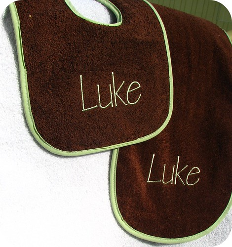 Chocolate and mint burp cloth and bib