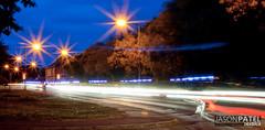 Police Light Trail (Јason) Tags: road uk longexposure blue trees blur trafficlights car canon 50mm lights star europe cops traffic police professional trail lamppost pro vehicle law eastanglia huntingdon lightpaint niftyfifty 400d cambrigeshire bluesandtwos jasonpatel wwwjasonpatelcouk dwcfflightpaint