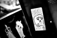out in front of the other two... (damonabnormal) Tags: street city urban blackandwhite bw streetart philadelphia june cake graffiti nikon sticker stickerart ant stickers streetphotography bean urbanart pa philly phl 215 urbanite 2011 d90 loveyourpussy