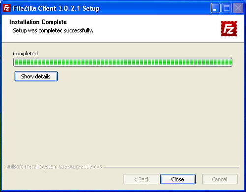 Fin d'installation FileZilla