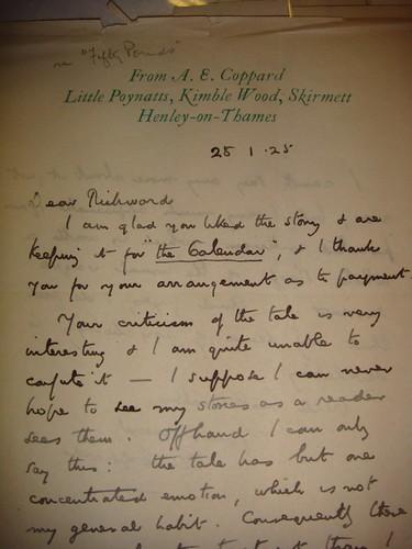 Coppard Rickword letter