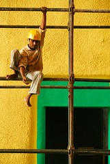 Man at work... (Shubh M Singh) Tags: man color architecture work court square high labor capitol perch labour balance d200 minimalism complex corbusier chandigarh workman modulor