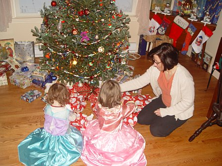 First thing Christmas day. Wearing their dresses from Christmas eve and checking out the loot.