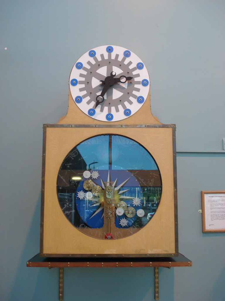 Clock in South entrance foyer at James Cook University Hospital. Installed to mark the Centenary of Rotary International and presented by Middlesbrough Rotary Club in 2005