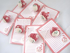 Gingham Mushroom - mini stationery- (Warm 'n Fuzzy) Tags: red cute hearts mushrooms handmade stickers craft gingham kawaii stationery mushie warmnfuzzy mushiestationery ministationery
