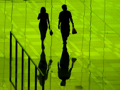 Green Shadows (Life in AsiaNZ) Tags: people 3 green glass lines silhouette backlight canon reflections photography three hall airport singapore gallery shadows g been1of100 fine terminal powershot international fv10 series arrival changi soe tinted the   g9 gseries of abigfave artlibre anawesomeshot  bratanesque 200850plusfaves canong9 world100f lifeinnanning multimegashot thegalleryoffinephotography flickrgiants