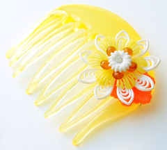 Yellow, Orange and White Vintage Flowers Hair Comb / Barrette