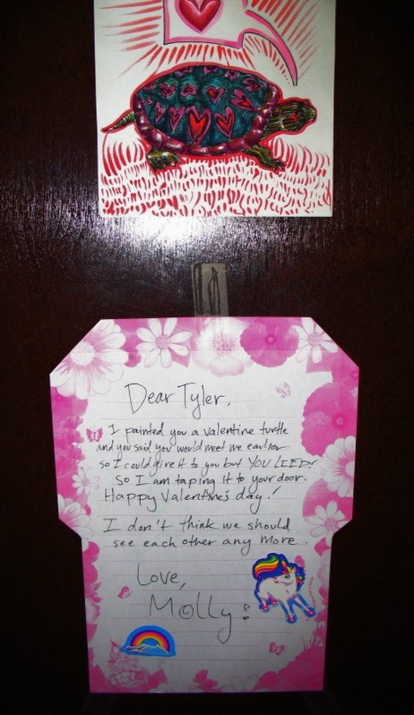 Dear Tyler, I painted you a valentine turtle and you said you would meet me earlier so I could give it to you, but YOU LIED! So, I am taping it to your door. Happy Valentine's day!  I don't think we should see each other any more.  Love, Molly!