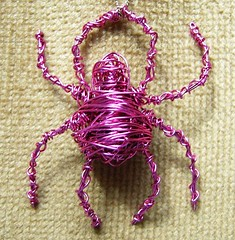 Rosie - a pink wire-wrapped spider pendant (365/9)