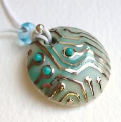 circuit board pendant (c-urchin) Tags: uk ceramic handmade jewelry jewellery etsy porcelain seaurchin