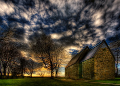 Sola ruinkyrkje (Amundn) Tags: roof sunset tree brick church clouds ancient nikon ruin medieval sola hdr 1150 d300 sigma1020mm 5xp solaruinkirke erlingskjalgsson