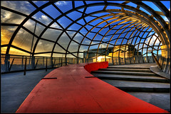 Webbage (Luke Tscharke) Tags: sunset red shadows perspective melbourne wideangle hdr webbbridge lushaki