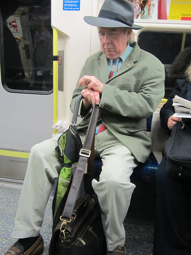 John Betjeman lookalike on Northern Line by Annie Mole