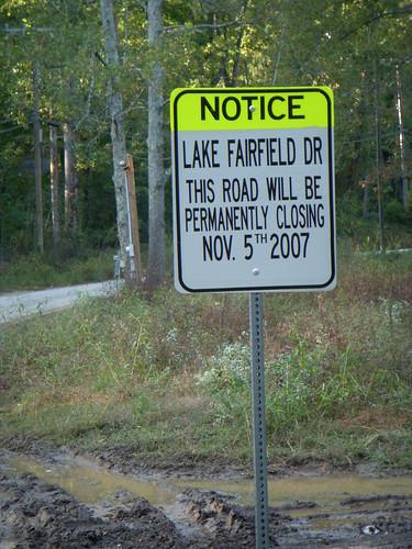 Lake Fairfield Drive closes
