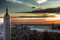 Top of the World (or the Rock at least) (bgladman) Tags: city nyc travel sunset sky usa newyork clouds america photography photo nikon cityscape manhattan stock explore hudsonriver empirestatebuilding rockefellercentre colourful statueofliberty nikkor rockefeller magical hdr highdynamicrange topoftherock tonemapped abigfave brendangladman