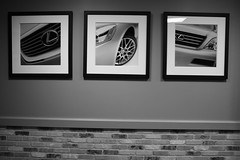 Lexus on the Wall (PhilipRood.com) Tags: blackandwhite bw white black car wall photography blackwhite nice framed deluxe wheels picture minneapolis center headlights target prints showcase mn luxury lexus