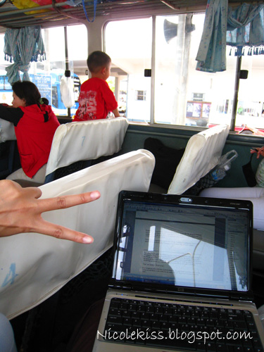 blogging on bus