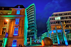 Luminale II (Philipp Klinger Photography) Tags: street blue windows light red sky sculpture color architecture night clouds ball germany deutschland licht bravo neon colours hessen shot frankfurt cyan wave sphere hour biennale 2008 philipp welle frankfurter hesse klinger luminale dcdead