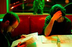 New York Dining. (avp17) Tags: nyc red urban newyork green america d50 booth 50mm lowlight nikon downtown manhattan fastfood greenwhichvillage diner nikond50 iso midtown americana metropolis nikkor 50 greenwichvillage wongkarwai wkw