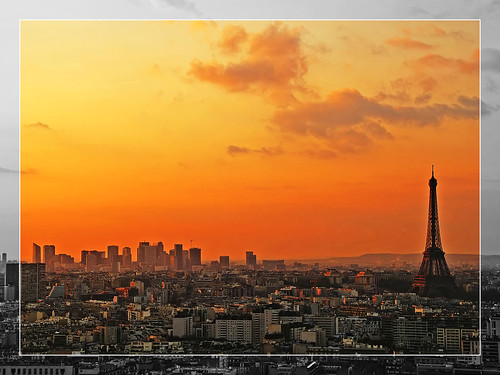 Red sunset over Paris