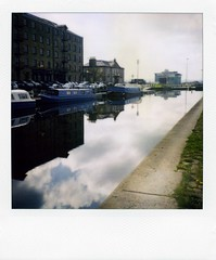 port dundas (werewegian) Tags: reflection water polaroid scotland canal glasgow narrowboat portdundas forthandclyde sx70blend werewegian