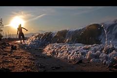 Before Splashed (edouardv66) Tags: sunset people lake color beach water children switzerland kid nikon play suisse geneva lac wave d200 splash leman genève 18200 vr eauxvives backlite babyplage