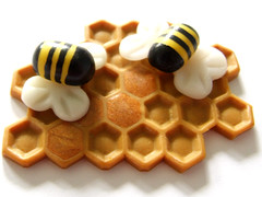 Honey factory (Eskimimi) Tags: insect pin bees brooch jewelry jewellery bee bumblebee fimo honey clay bumblebees honeycomb hive comb broach polymer combe