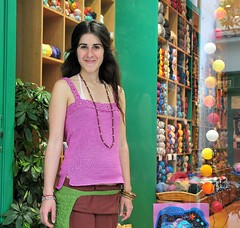 Irini and her new  Summer top (sifis) Tags: pink green girl fashion bag knitting tank top crochet athens hobby greece 18200 vr d300 nikor  sakalak