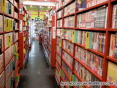 Rows and rows of comics in Mandarake