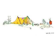 In Mustard (Tara Poky) Tags: camping camp sketch drawing