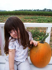 Julia and her pumpkin on the wagon.