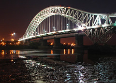 Nights bridge (Mr Grimesdale) Tags: bridge reflection night cheshire sony mersey runcorn widnes halton capitalofculture rivermersey runcornbridge mrgrimsdale stevewallace capitalofculture2008 liverpoolcapitalofculture2008 dsch2 europeancapitalofculture2008 widnesbridge photofaceoffwinner liverpoolcapitalofculture pfogold mrgrimesdale grimesdale
