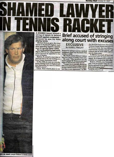 Shamed Lawyer in Tennis Racket - Sunday Mail 21 October 2007