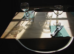 Chez Serge (gherm) Tags: wood light france window canon table restaurant glasses shadows chairs lumire knives s2is forks fentre chaises bois gettyimages verres ombres vaucluse carpentras couteaux fourchettes gherm 0710297496 formatpaysage gettyartistpicks