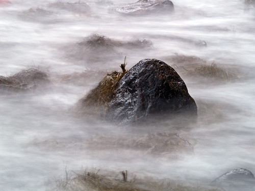 Photo of stone and seaweed in the ocean using 20 seconds long exposure