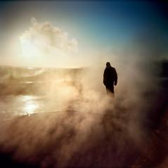 steamboy (sgoralnick) Tags: mist 120 film andy silhouette mediumformat square iceland holga smoke kodakportra400vc steam geysir vapor andyclymer