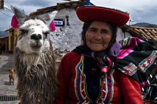 Woman with Llama; Cuzco, Peru