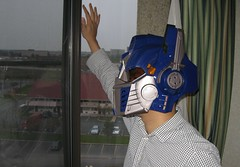 Lon in optimus prime helmet