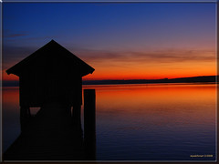Sunset at lake Ammer with boathouse (MyOakForest) Tags: sunset alps bayern sonnenuntergang alpen ammersee breathtaking ammer stegen 10faves golddragon superbmasterpiece bayaria theunforgettablepictures fiveflickrfavs goldstaraward