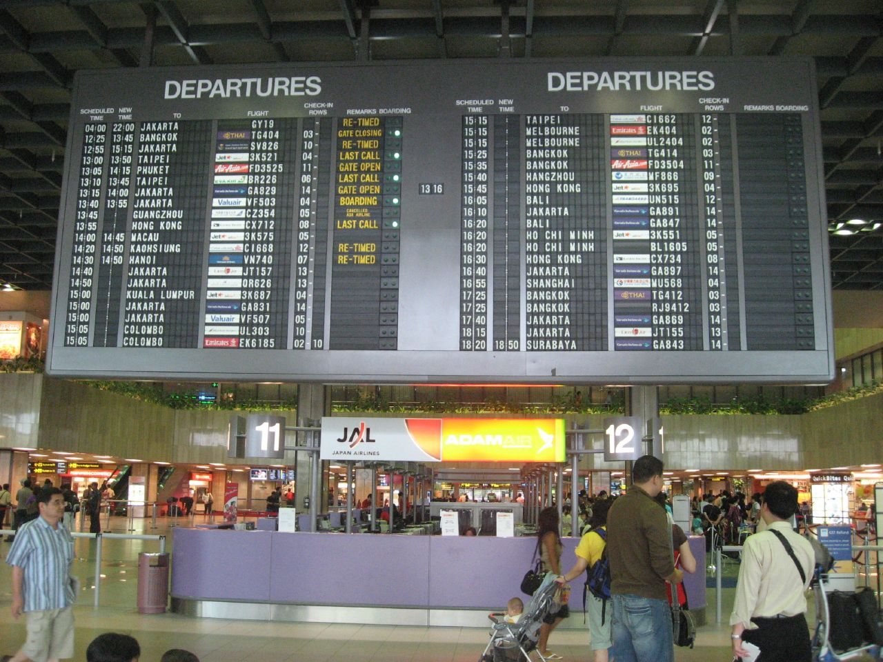 Departure board at Singapore Changi International Airport