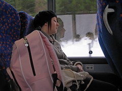 Peaceful passenger in profile with pink pack (lev) Tags: pink reflection bus travelling window girl coach profile transport journey transportation napping passenger day3 asleep rucksack daythree citylink 18jan