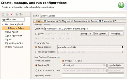 An example Eclipse runtime configuration.