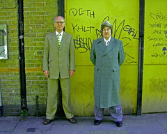 Gilbert And George, Manipulated As If Through The Glass On The Toilet Door Of A 1960s' Bungalow (Herschell Hershey) Tags: art photoshop blind experiment like mans buff bricklane gilbertandgeorge