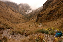 Hiking Down the Inca Trail (Dave Schreier) Tags: road travel mist peru machu picchu fog inca stone hiking trail hiker mountian