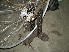 wheel straightening thing 2 (nicbordeaux) Tags: bike bicycle wheel track castiron truingstand