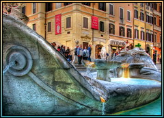 Cool fountain in warm Rome (Mike G. K.) Tags: street city people italy orange rome roma water fountain architecture buildings square cool warm italia ship piazzadispagna walls sunken byron hdr spanishsteps photomatix 3exp fontanadellabarcaccia platinumphoto diamondstars fountainoftheoldboat hdraddicted rubyphotographer damniwishidtakenthat flickrsmasterpieces