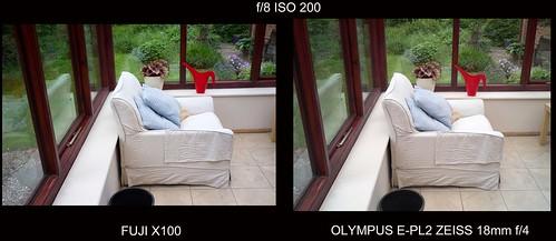Fuji X100 Olympus E-PL2 Zeiss 18mm f/4 Distagon