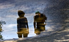 walking in the puddle ( reflection upside down) (Gabriella Hal) Tags: reflection water walking puddle couple eau down reflexions upside flaque renverse