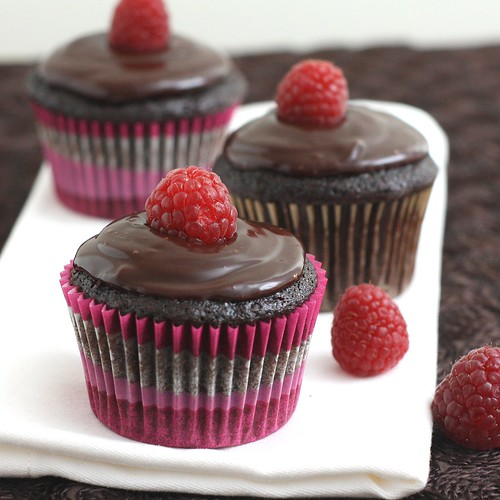 Double Chocolate Raspberry Cupcakes