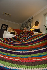 Deb finishing her stripey blanket